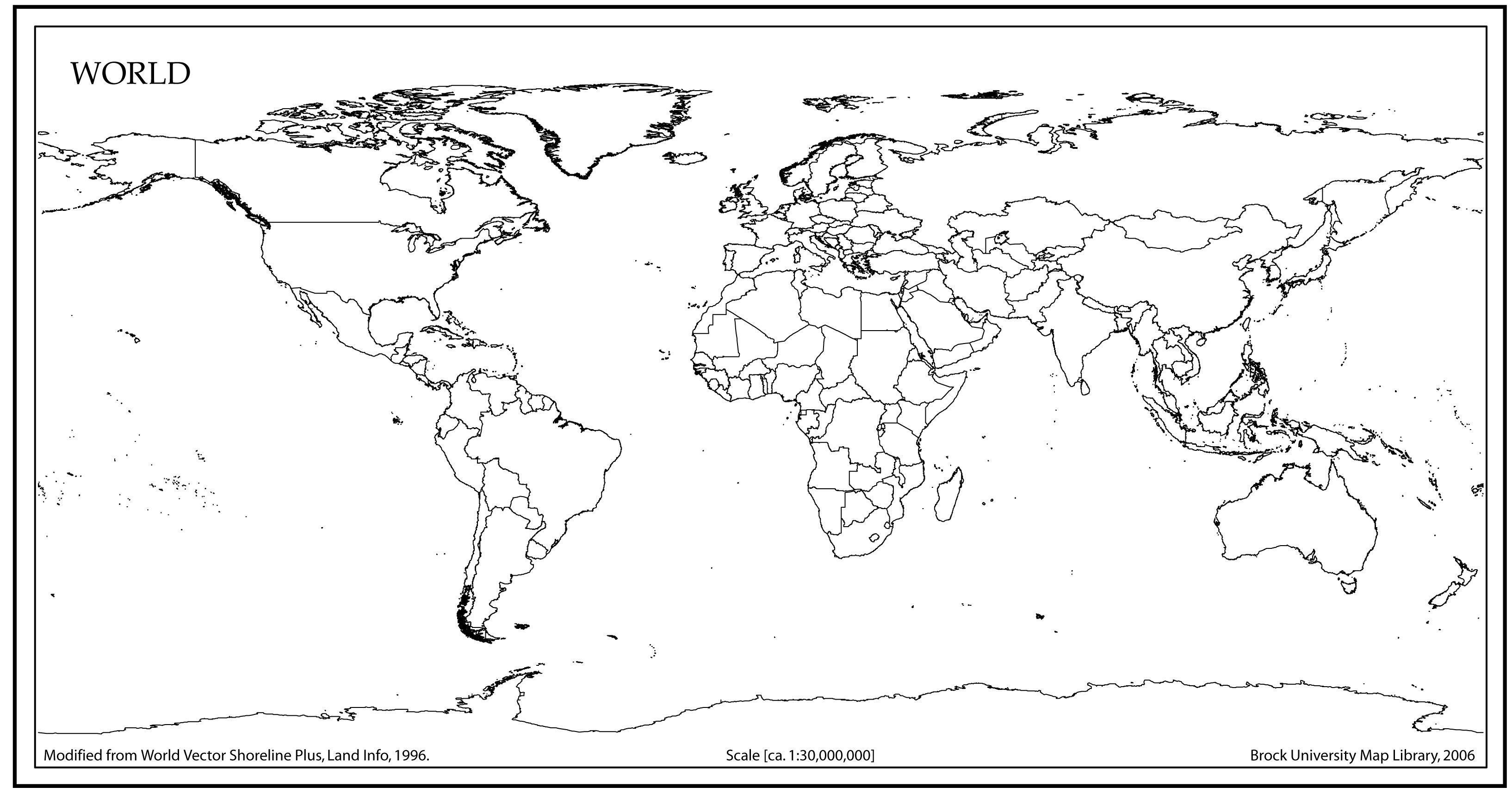 Outline World Map Printable Pdf