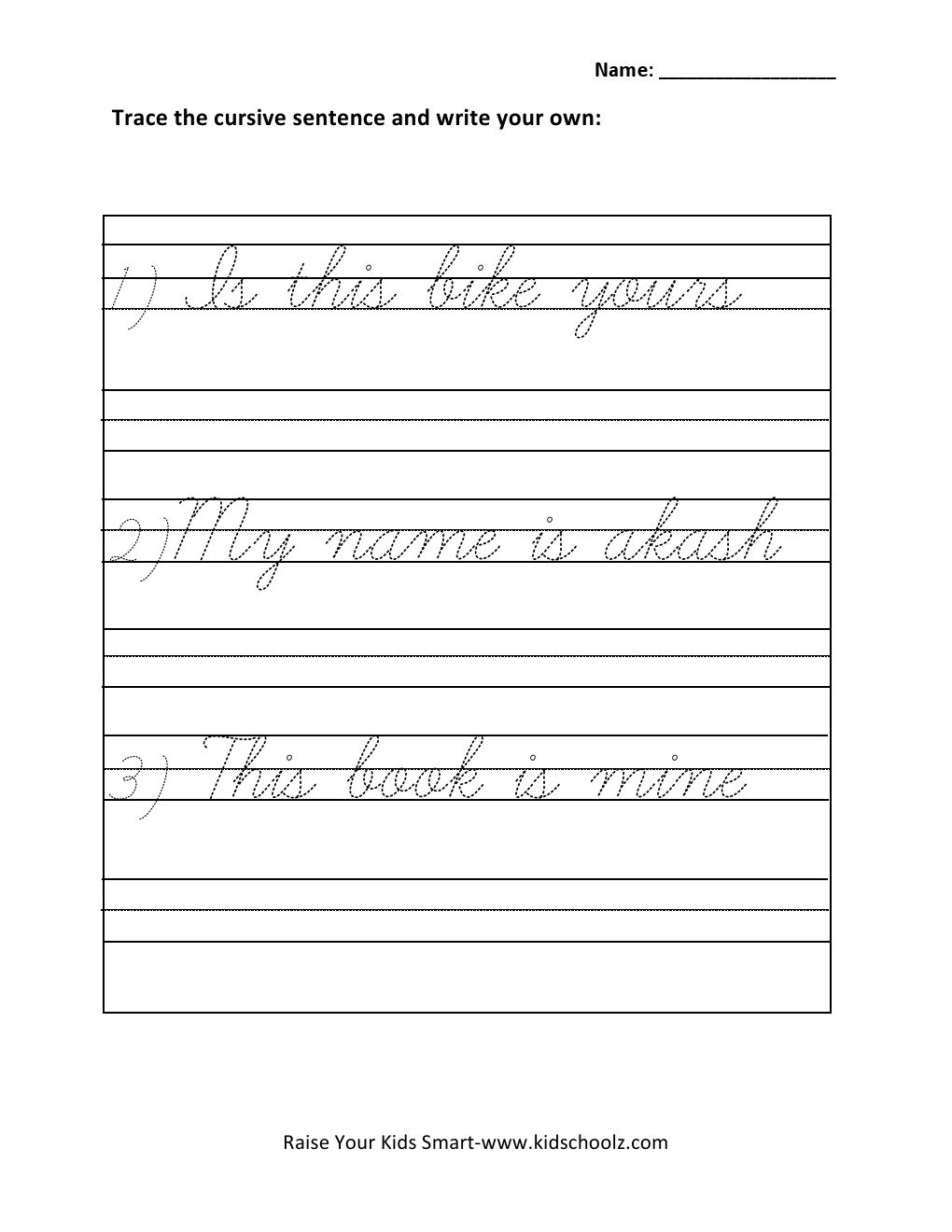 Printable Cursive Writing Pdf