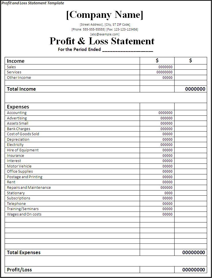 Printable Simple Free Blank Profit And Loss Statement Pdf