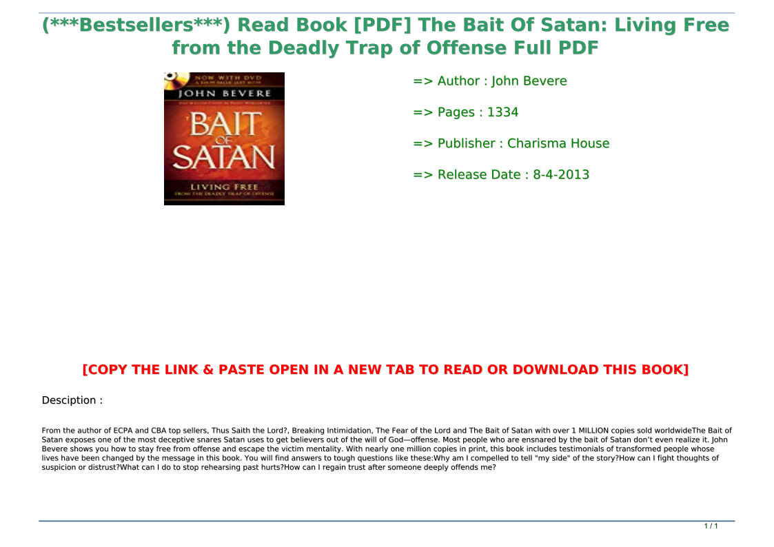 The Bait Of Satan Pdf Book