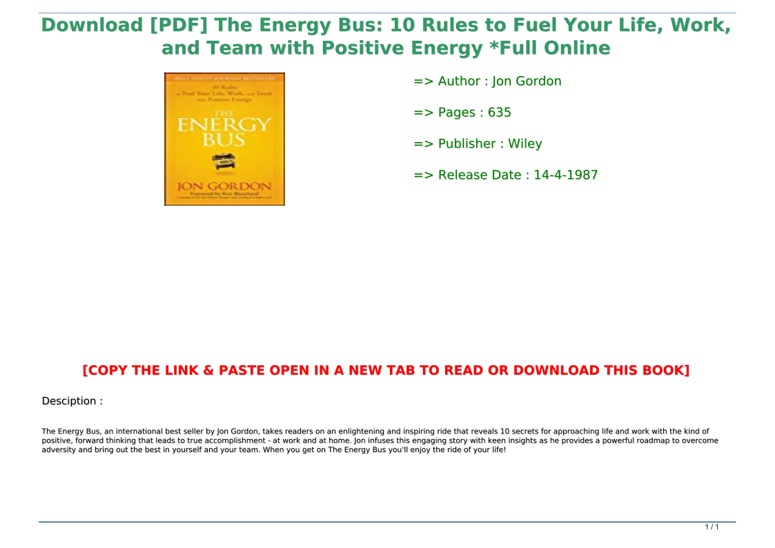 The Energy Bus Pdf