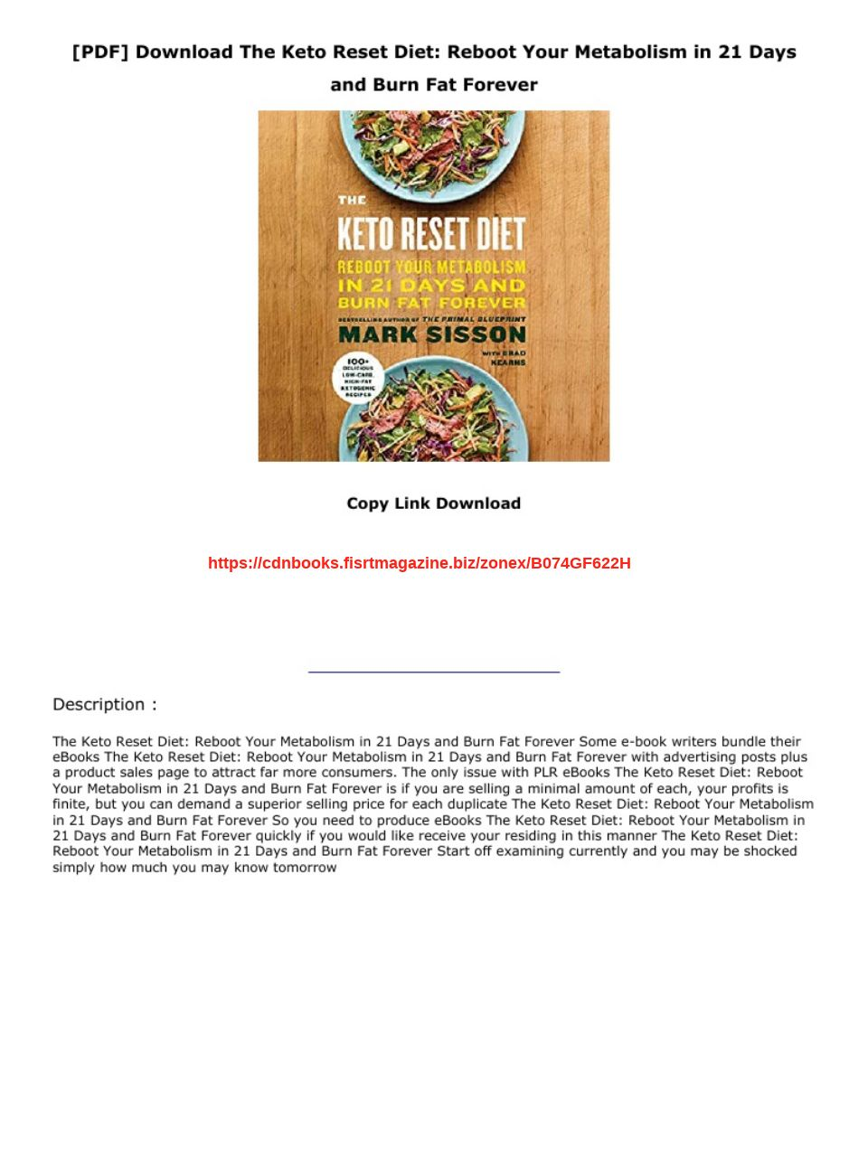 The Keto Reset Diet Pdf