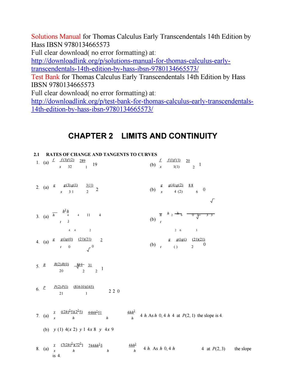 Thomas Calculus 14th Edition Pdf Solutions