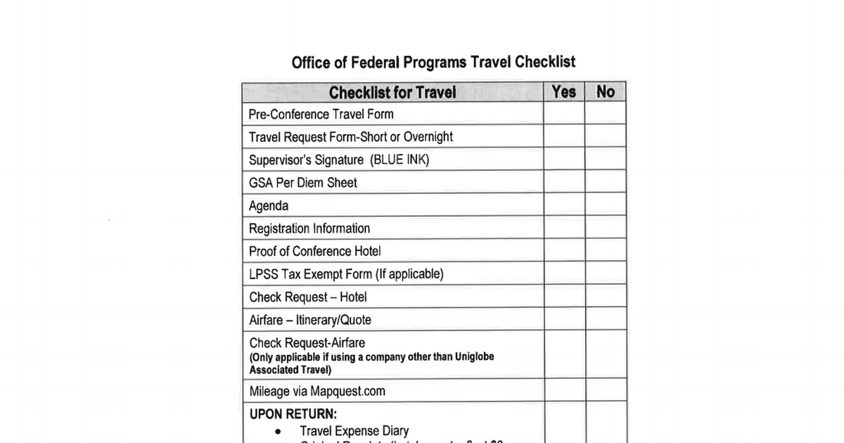 Travel Checklist Pdf