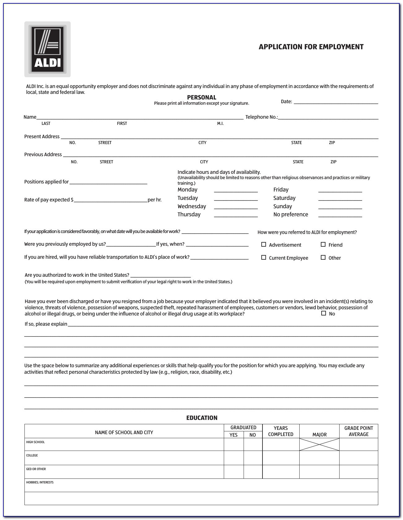 Download Aldi Job Application Form – Careers | Pdf | Freedownloads Pertaining To Aldi Job Application