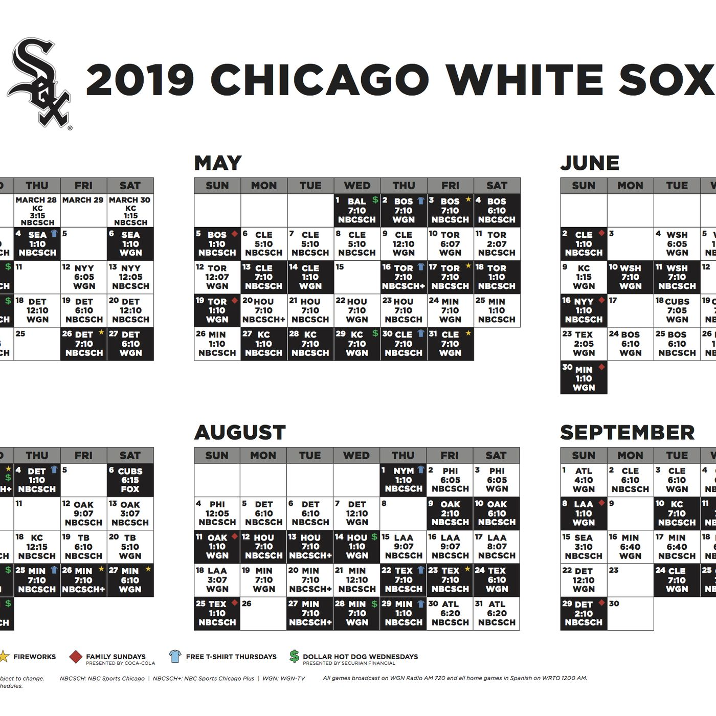 White Sox 2018 Schedule Pdf