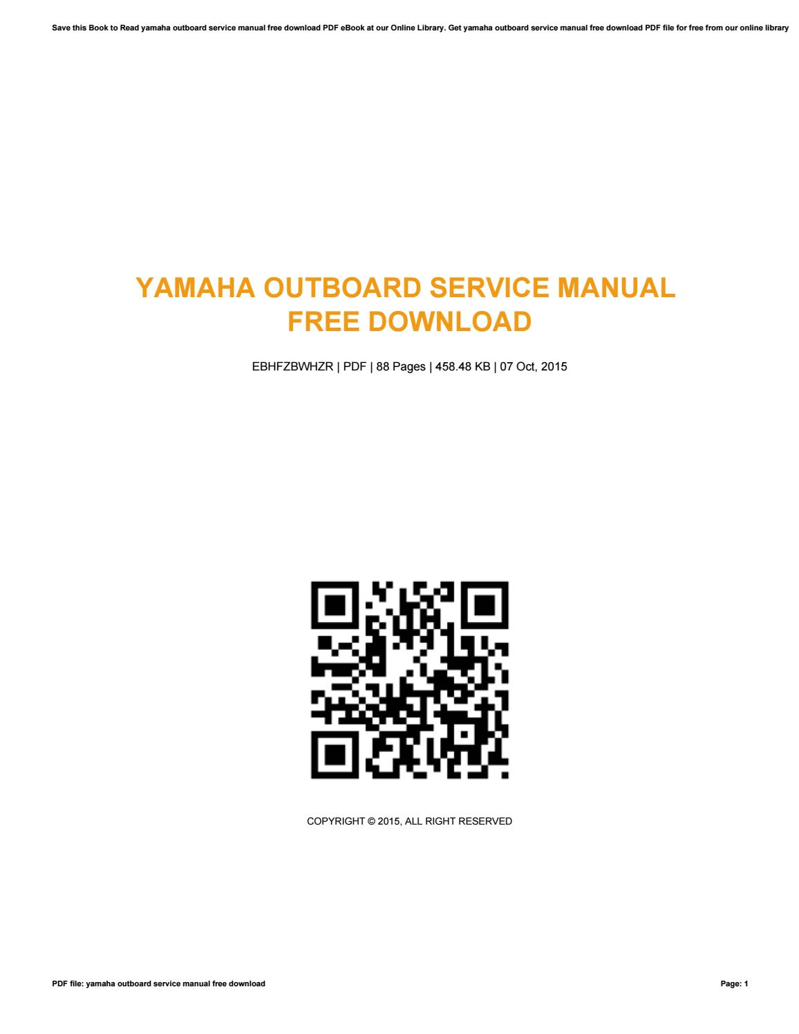 Yamaha Outboard Service Manual Pdf Download Free