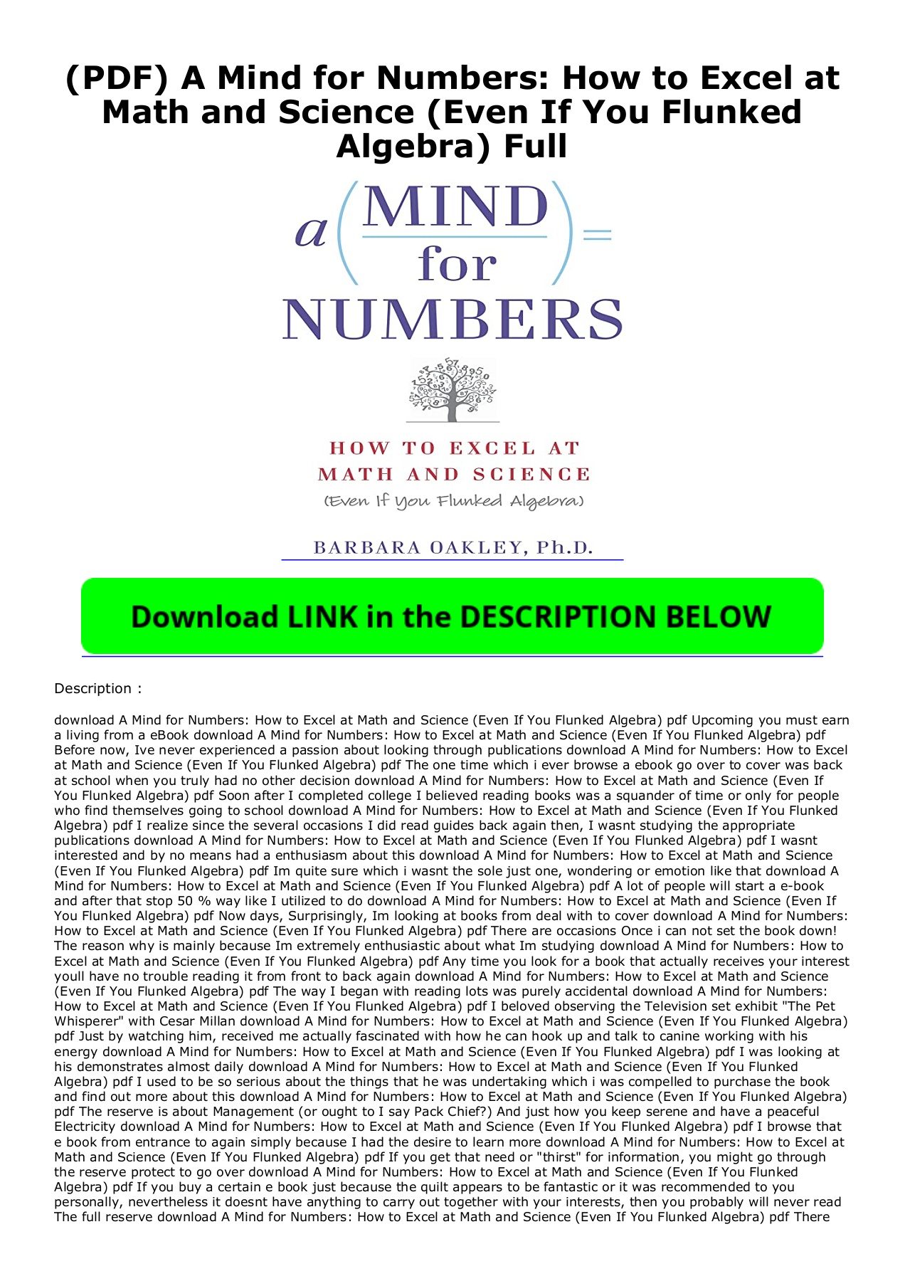 A Mind For Numbers Pdf