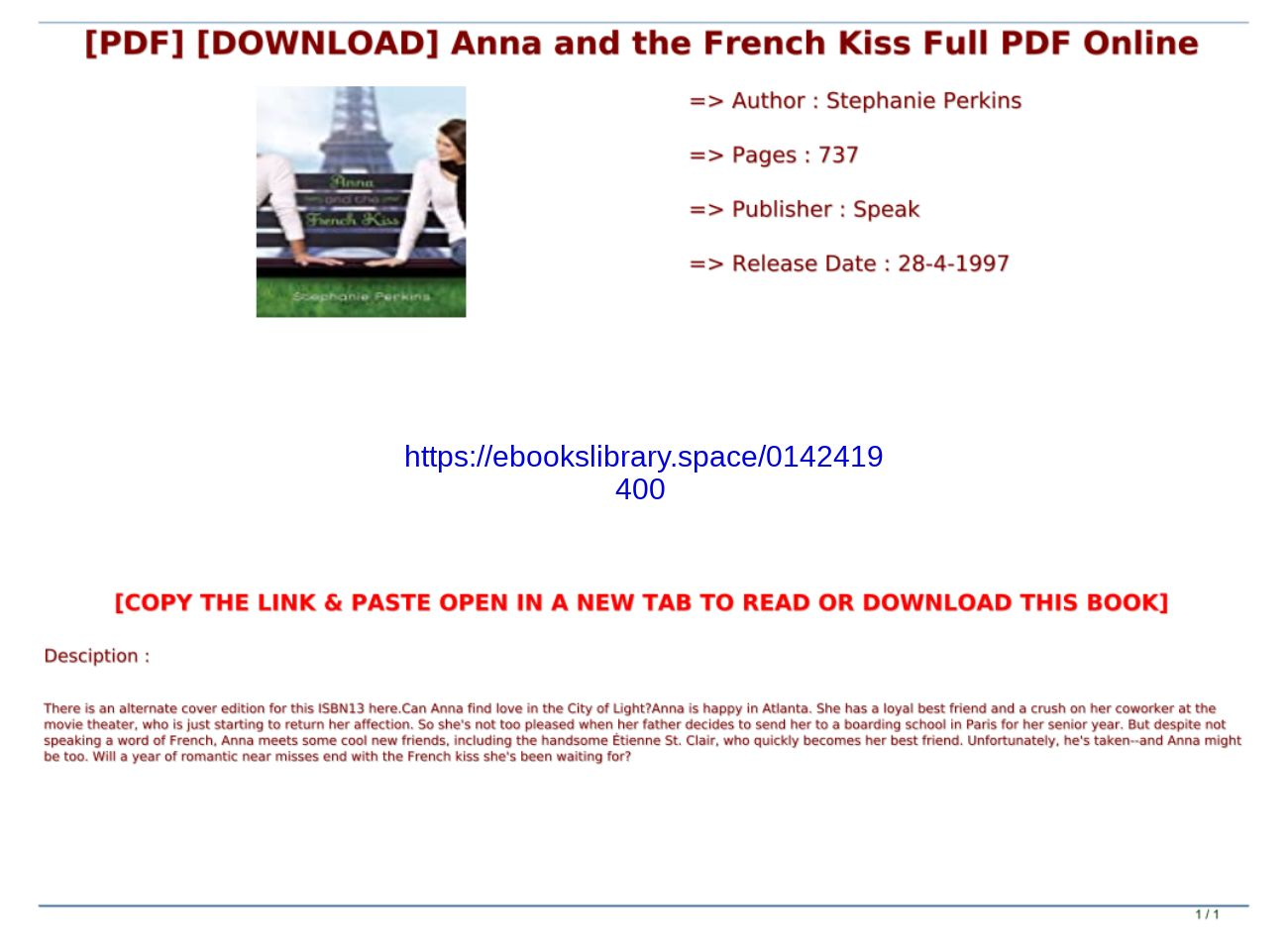 Anna And The French Kiss Pdf Online