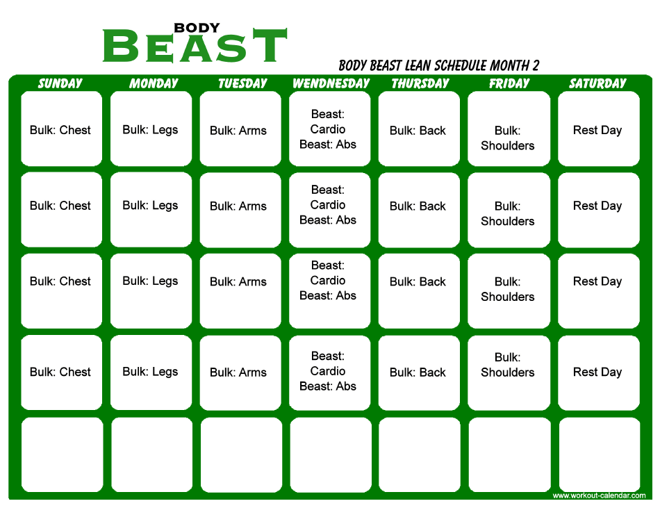 Body Beast Lean Schedule Pdf