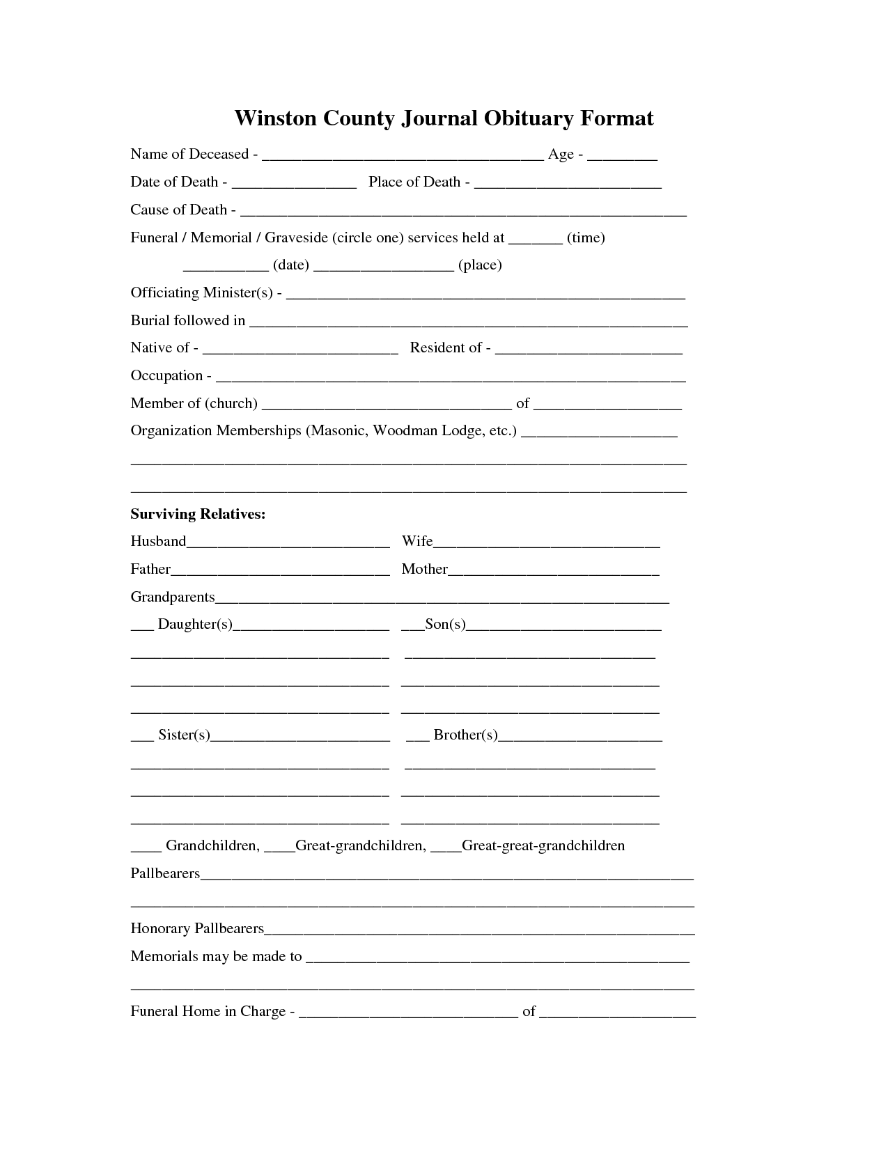 Downloadable Obituary Template Pdf