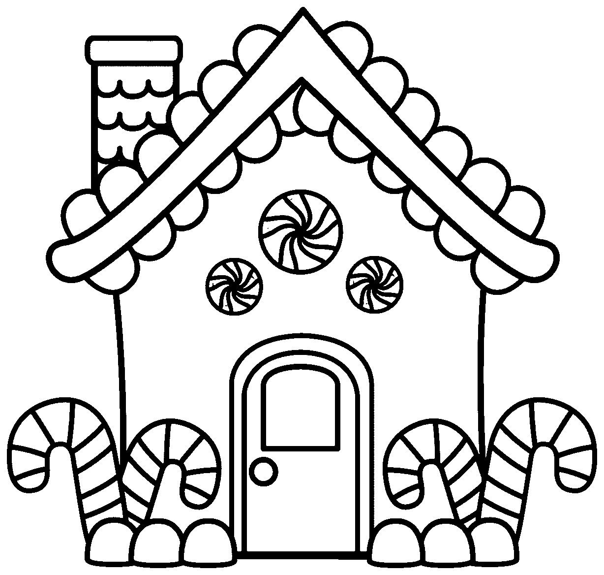 Gingerbread House Christmas Coloring Pages For Adults Pdf