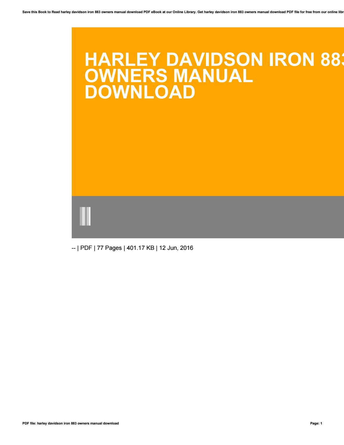 Harley Davidson Owners Manual Pdf Free Download