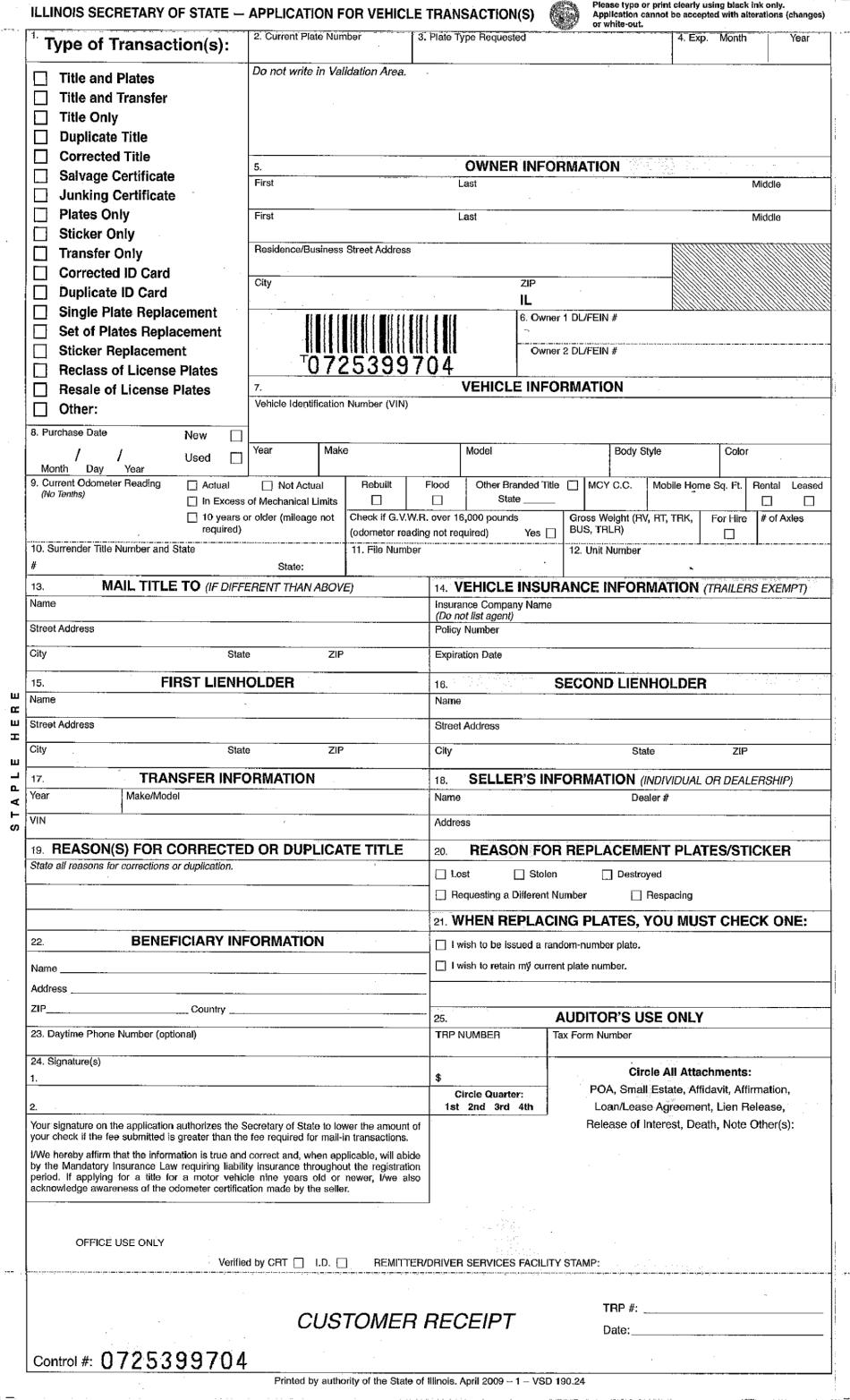 Illinois Duplicate Title Application Pdf