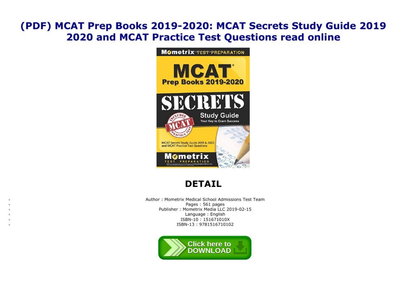 Mcat Study Guide Pdf 2019