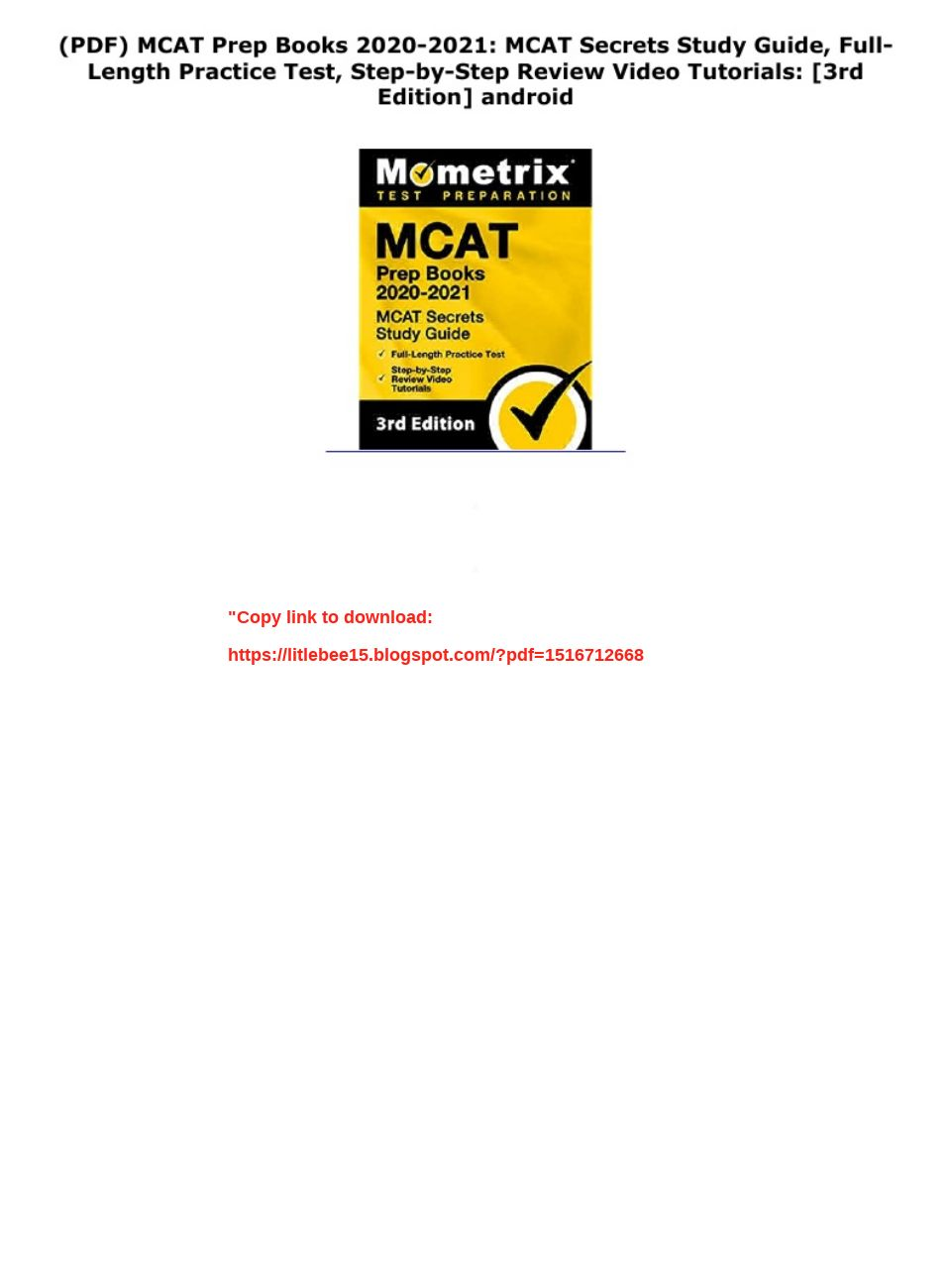 Mcat Study Guide Pdf