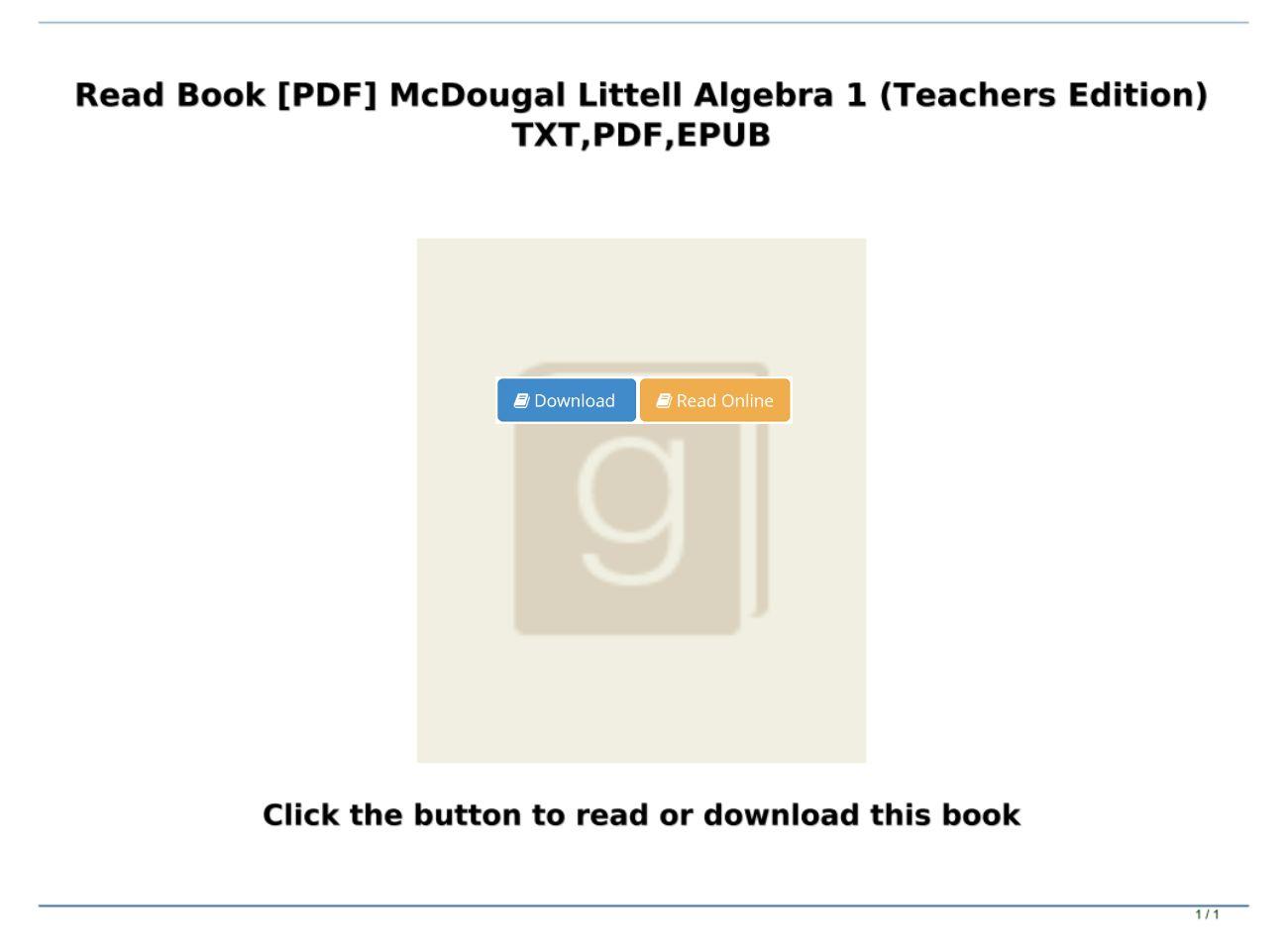 Mcdougal Littell Algebra 1 Pdf