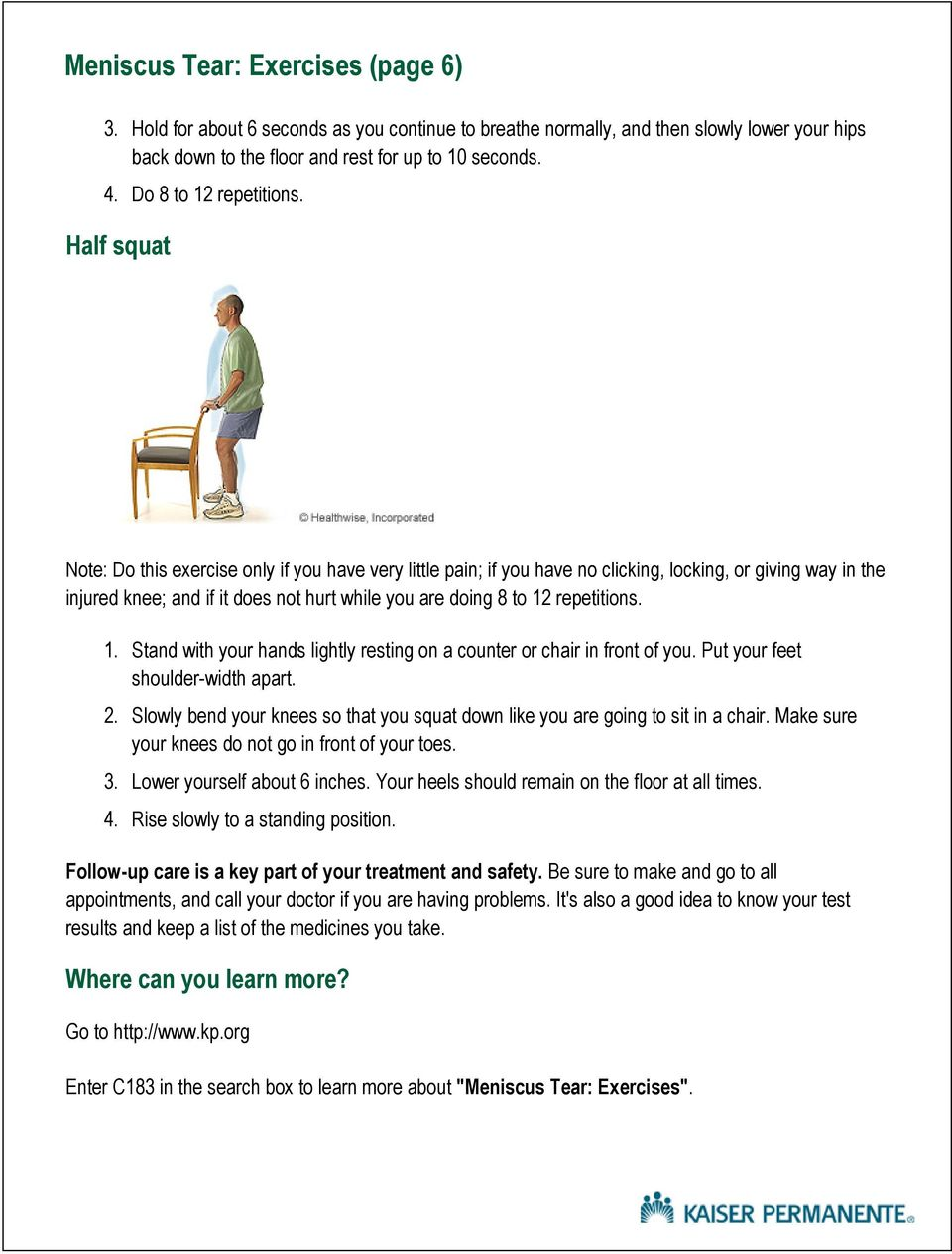 Meniscus Tear Exercises Pdf