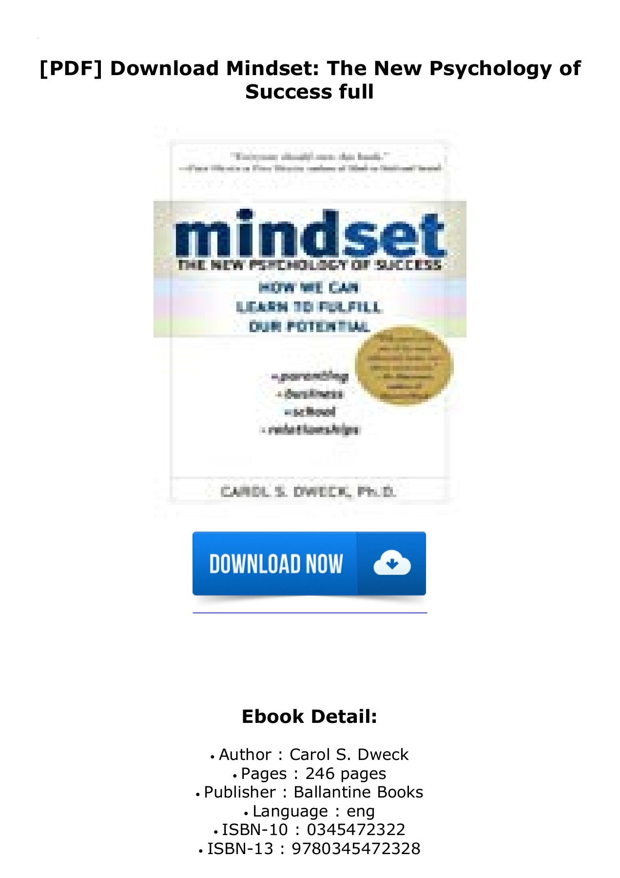 Mindset The New Psychology Of Success Pdf