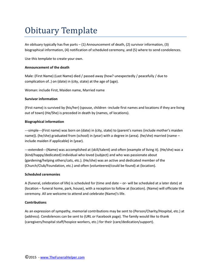 Obituary Template Pdf
