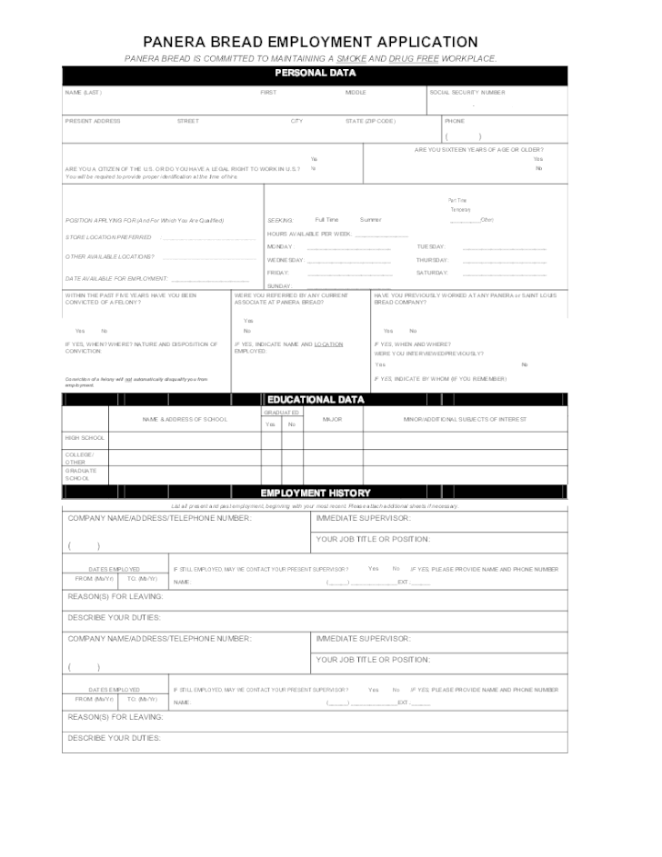 Panera Bread Application Pdf