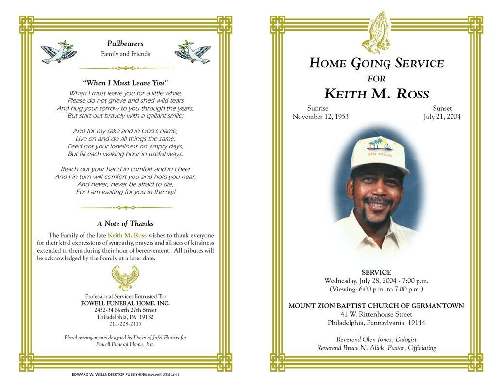 Pdf Obituary Template Free