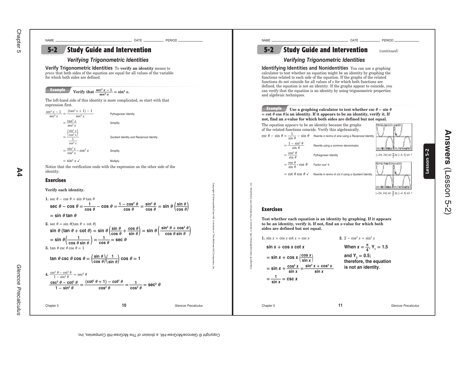 Precalculus Worksheets With Answers Pdf