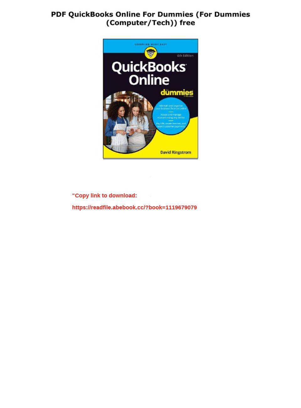 Quickbooks Online For Dummies Pdf Free