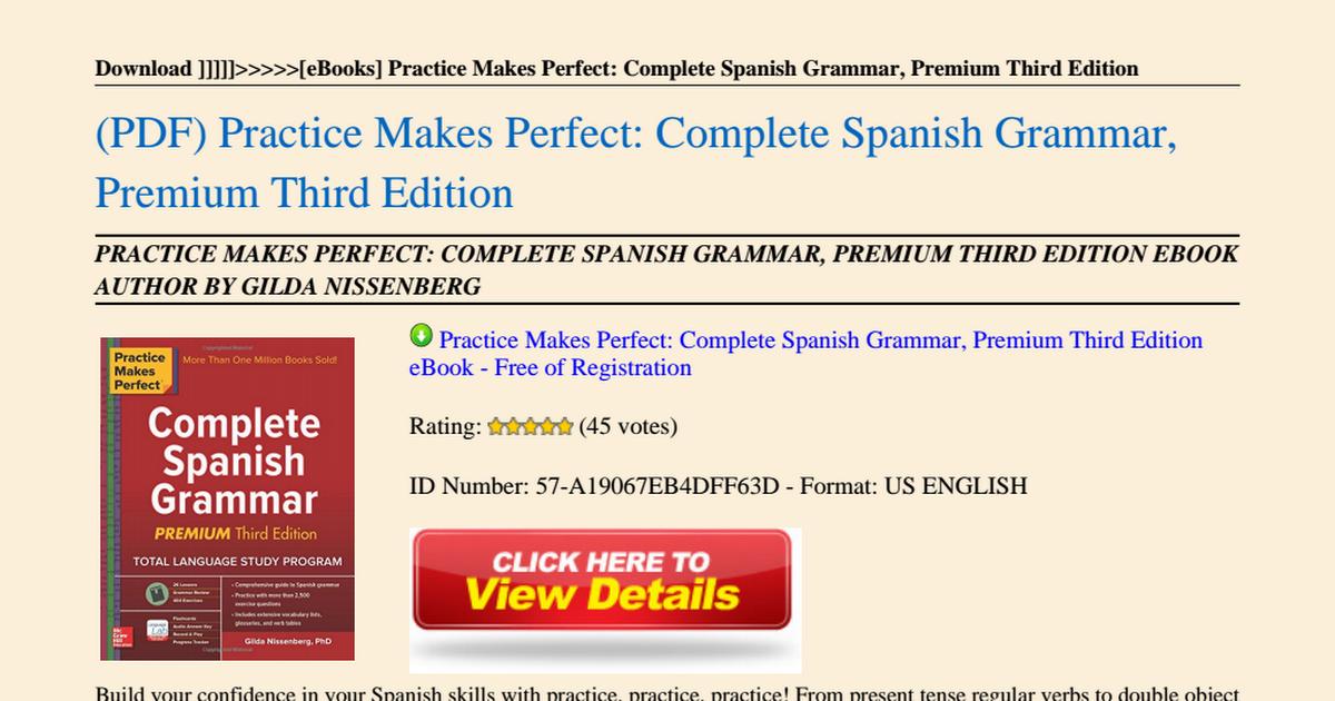 Spanish Grammar Pdf