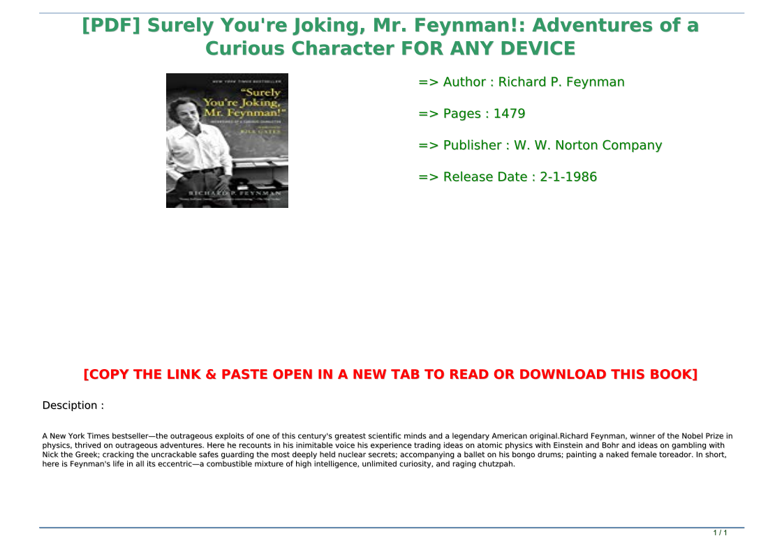 Surely You Re Joking Mr Feynman Pdf