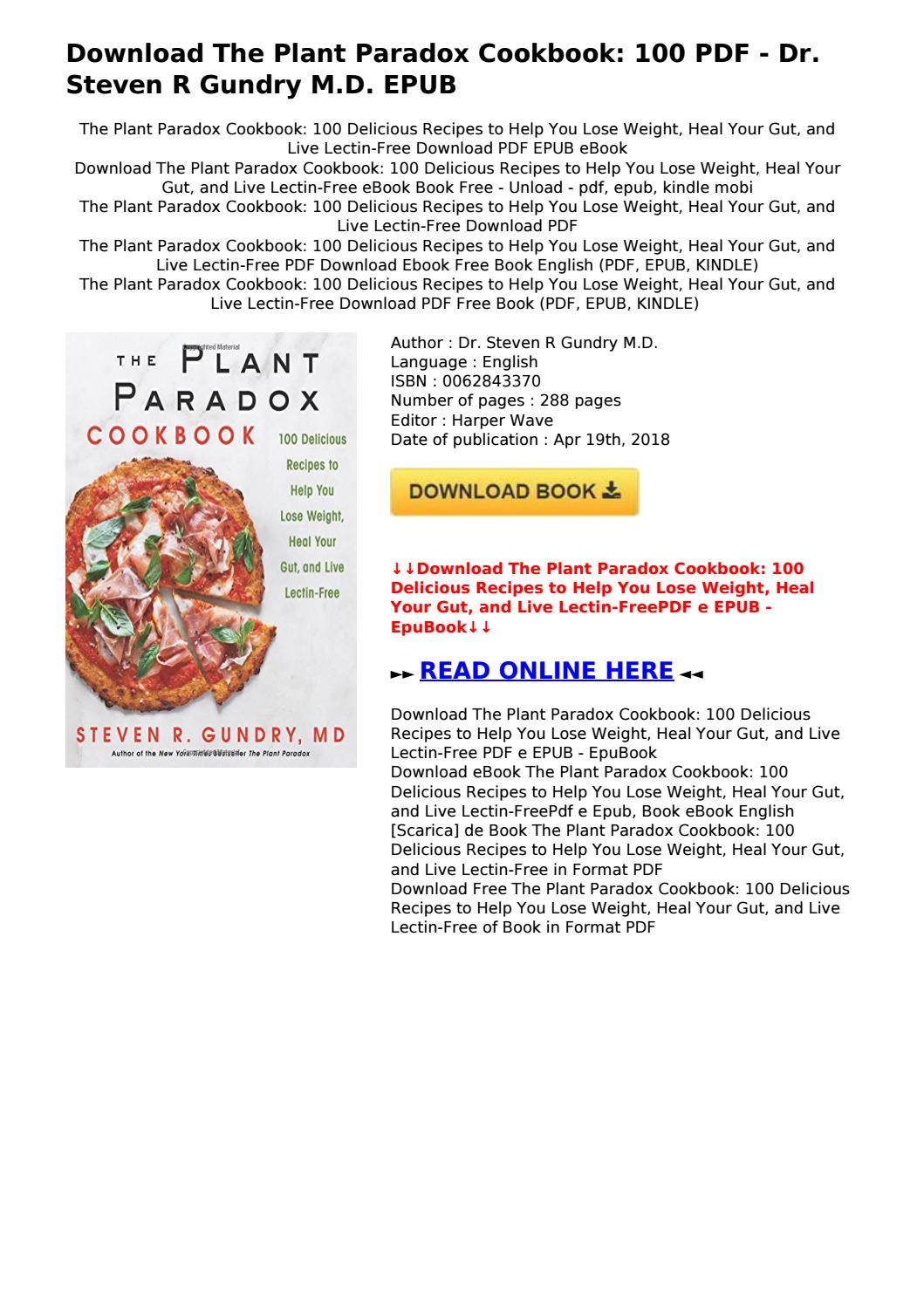 The Plant Paradox Cookbook Pdf