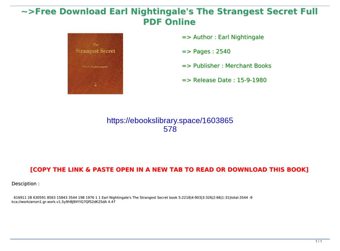 The Strangest Secret Pdf Download