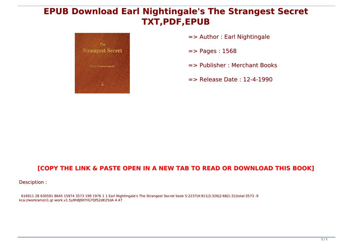 The Strangest Secret Pdf