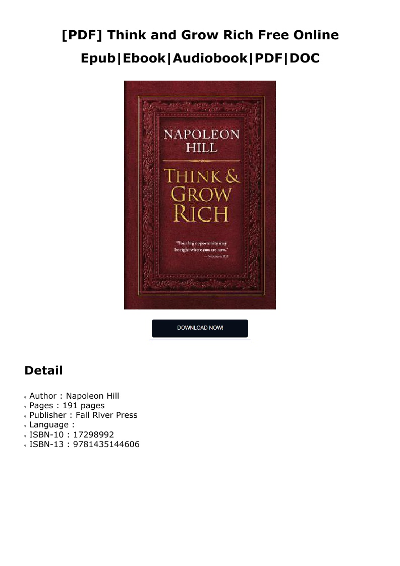 Think And Grow Rich Free Pdf Online