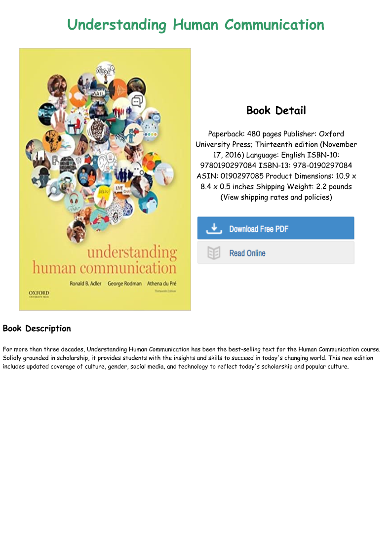 Understanding Human Communication 13th Edition Pdf Free