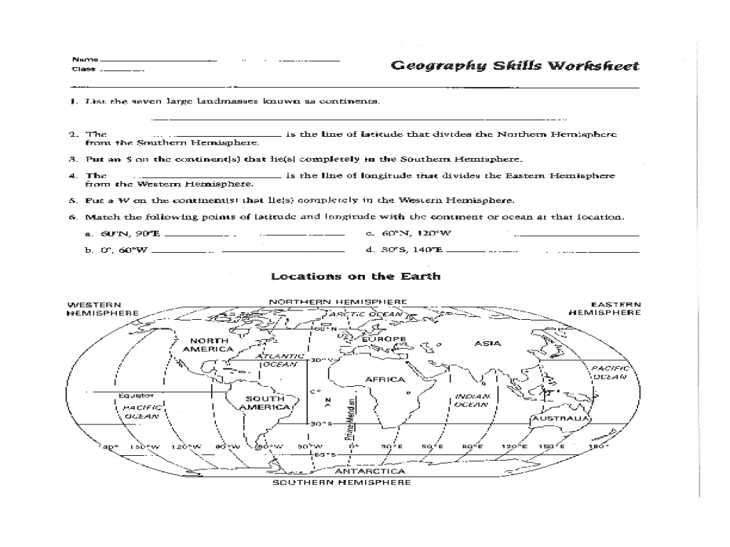 6th Grade Geography Worksheets Pdf