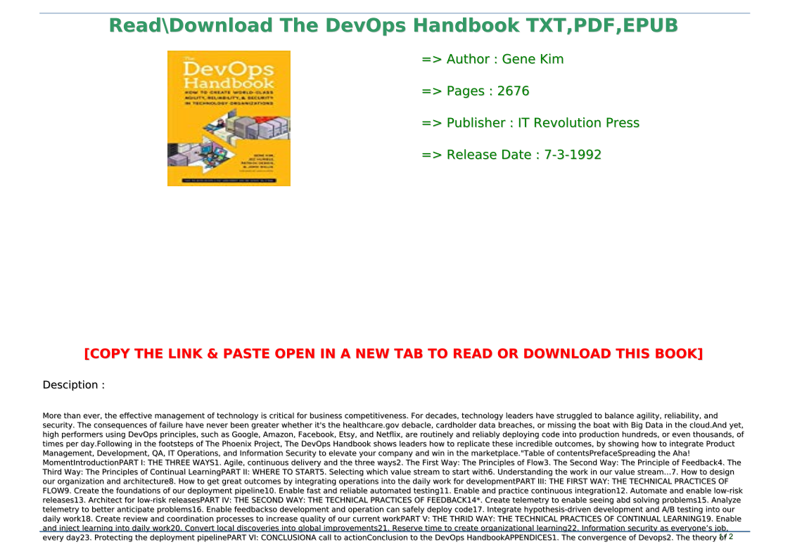 Devops Handbook Pdf Download