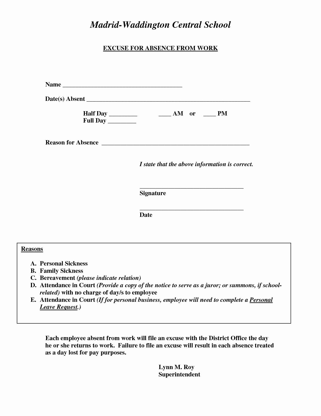 Doctors Excuse Note For Work Pdf