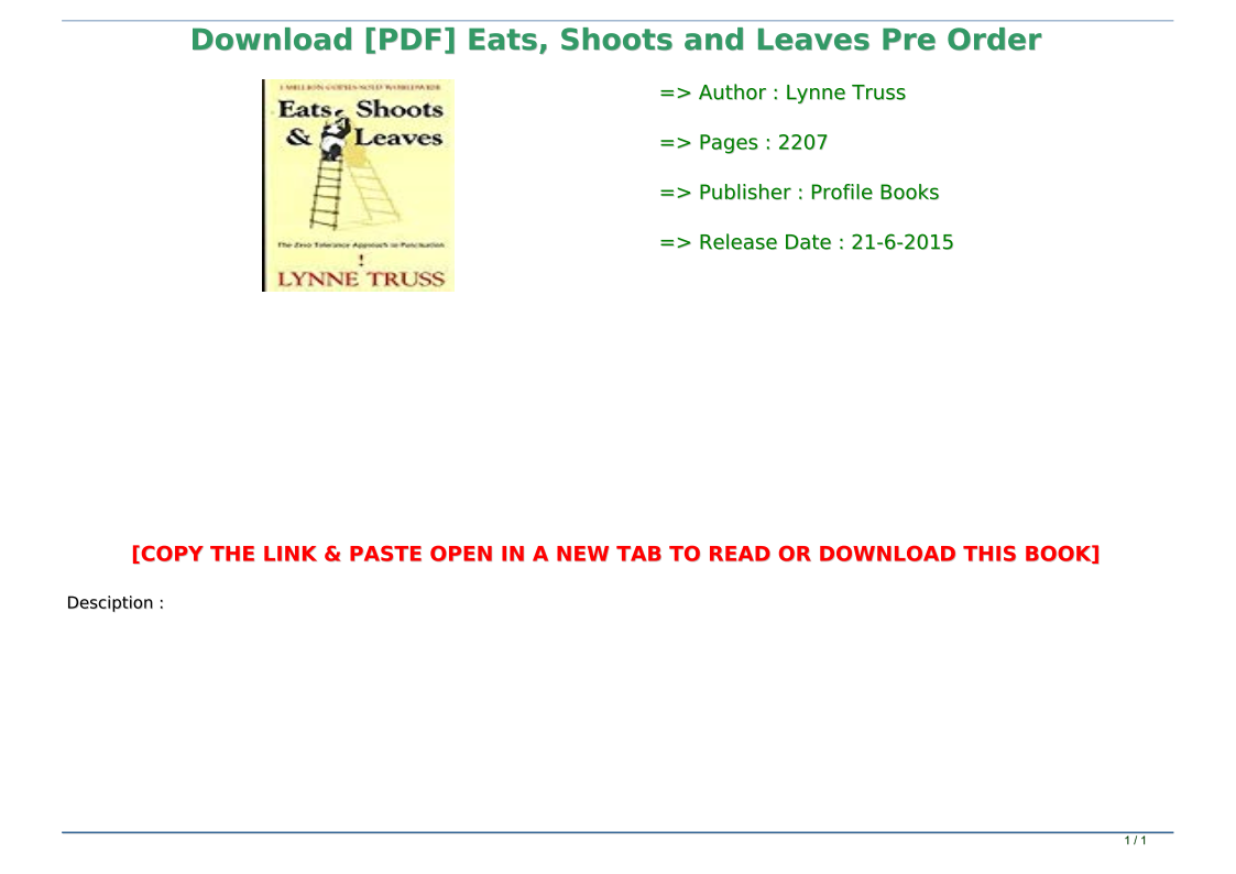 Eats Shoots And Leaves Pdf