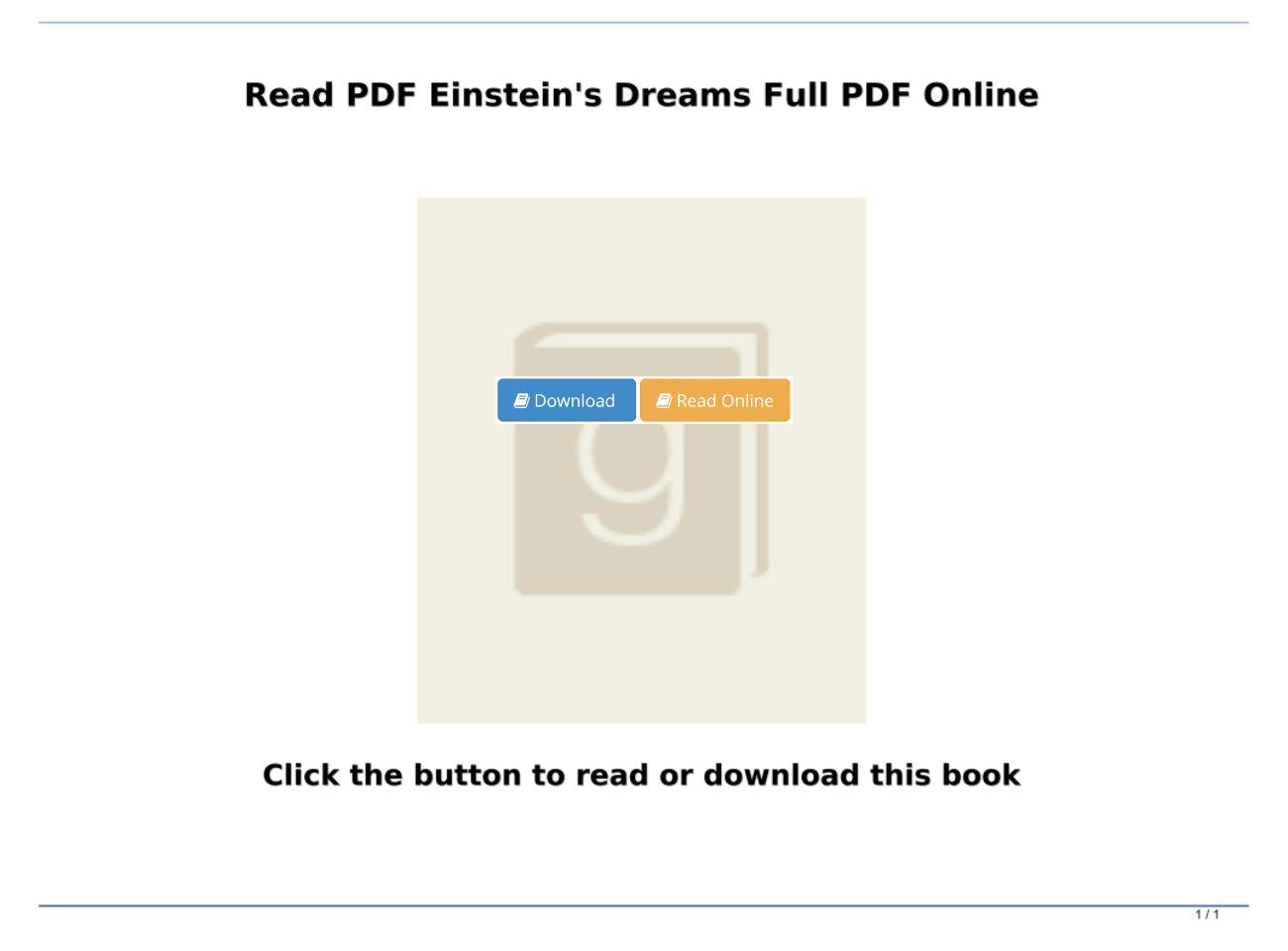 Einstein's Dreams Pdf