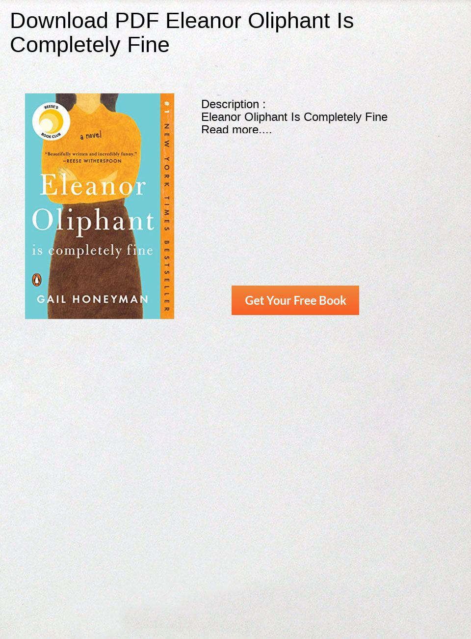 Eleanor Oliphant Is Completely Fine Pdf