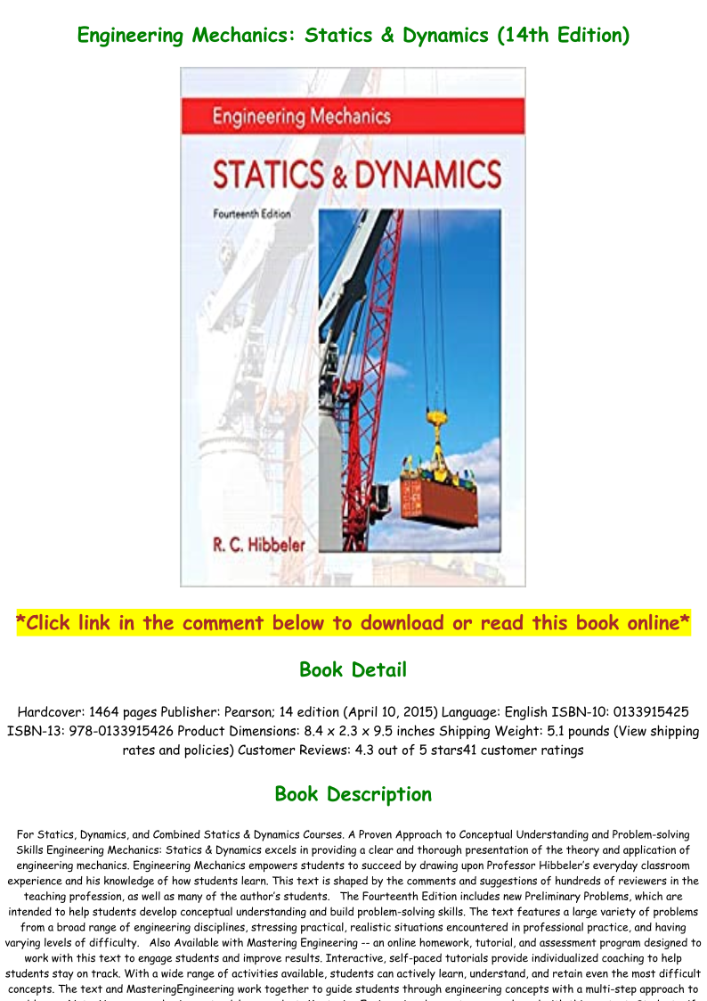 Engineering Mechanics Dynamics 14th Edition Pdf