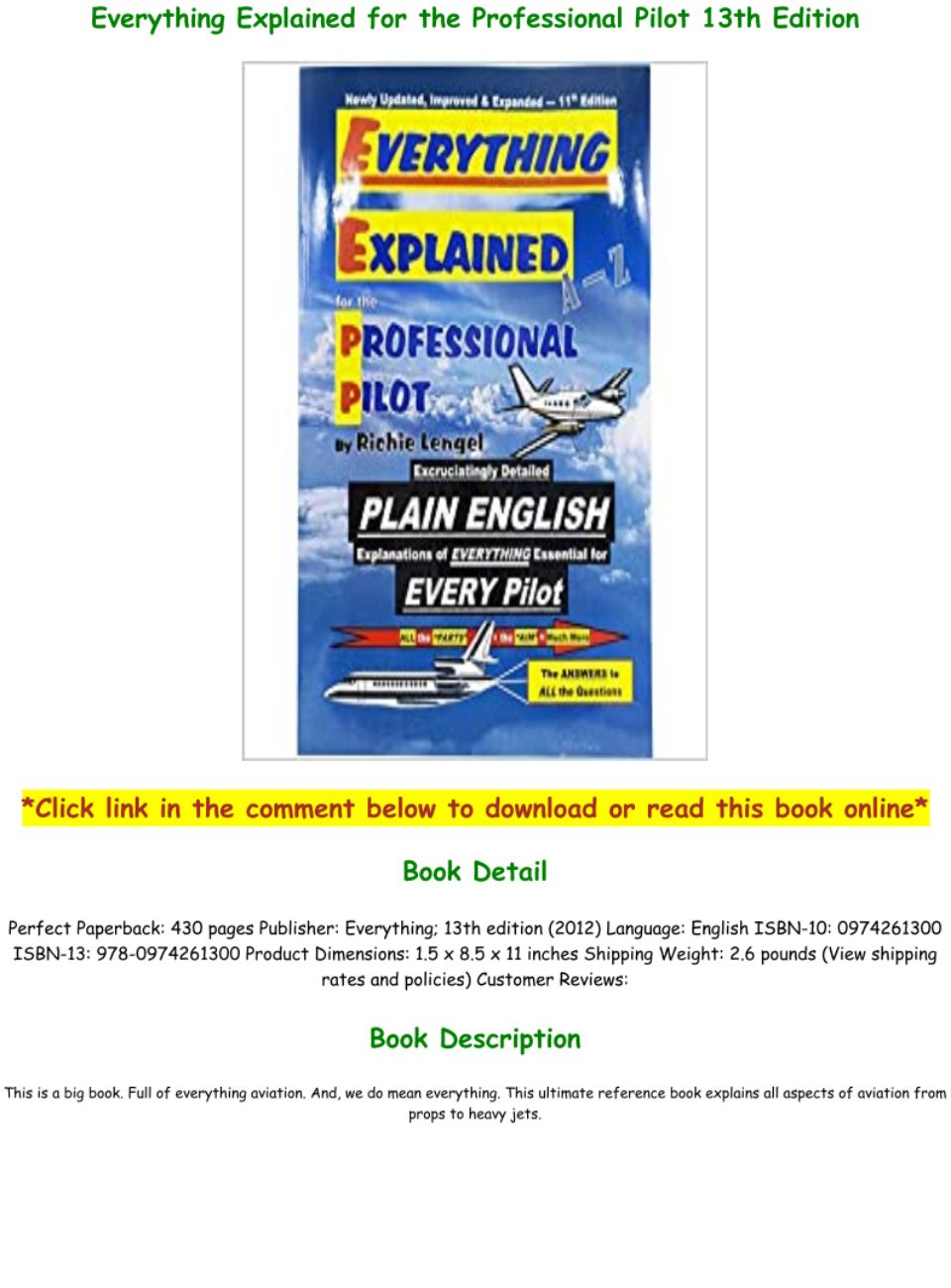 Everything Explained For The Professional Pilot Pdf
