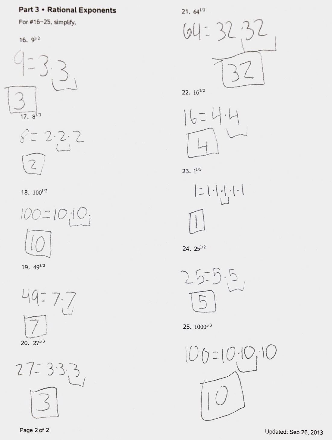 Exponents And Radicals Worksheet With Answers Pdf Algebra 2