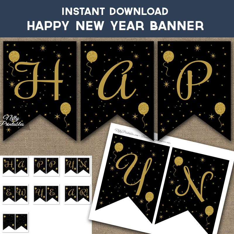 Free Happy Birthday Banner Printable Pdf Black And Gold