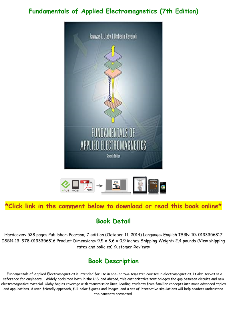 Fundamentals Of Applied Electromagnetics 7th Edition Pdf Download