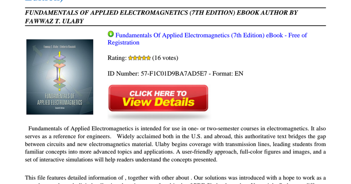 Fundamentals Of Applied Electromagnetics 7th Edition Pdf Ulaby