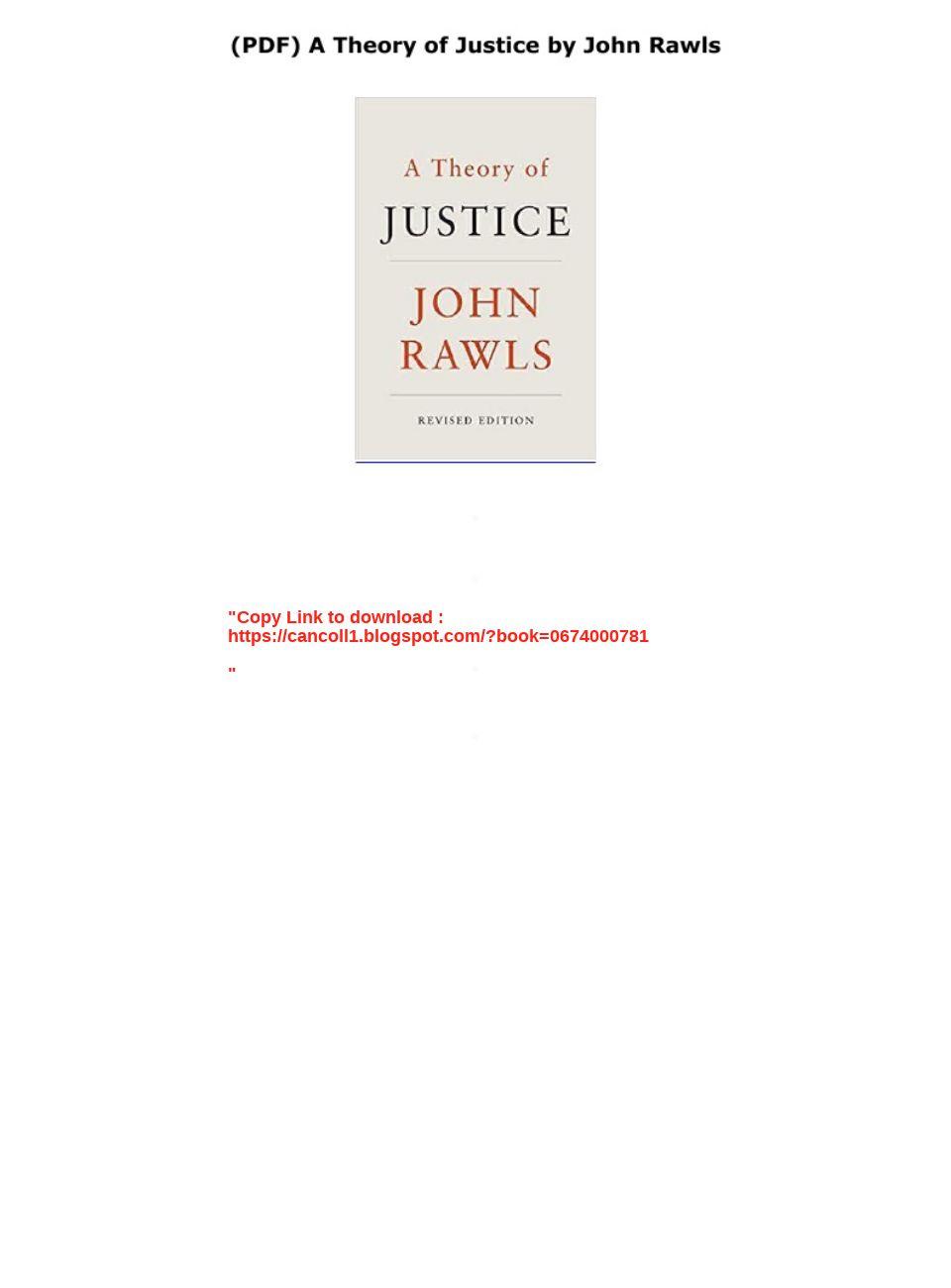 John Rawls Theory Of Justice Pdf