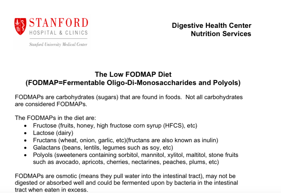 Low Fodmap Diet Stanford Pdf Spanish