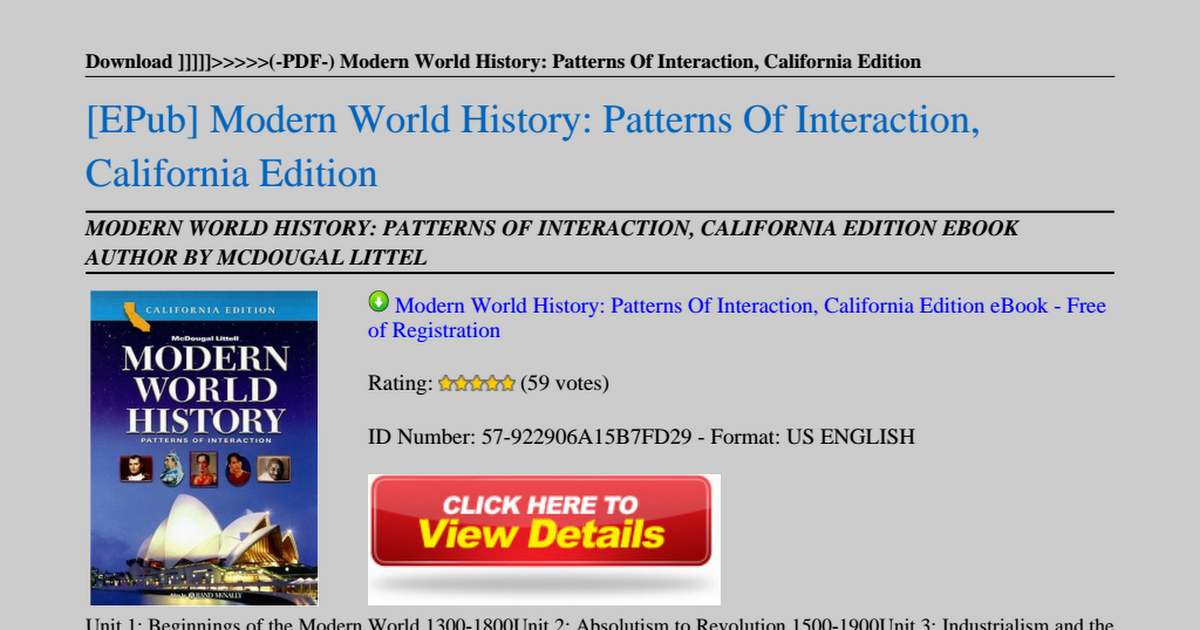 Modern World History Patterns Of Interaction California Edition Pdf